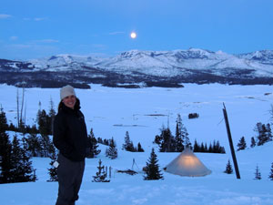 Aimee Tallian in front of Pelican Valley winter base camp